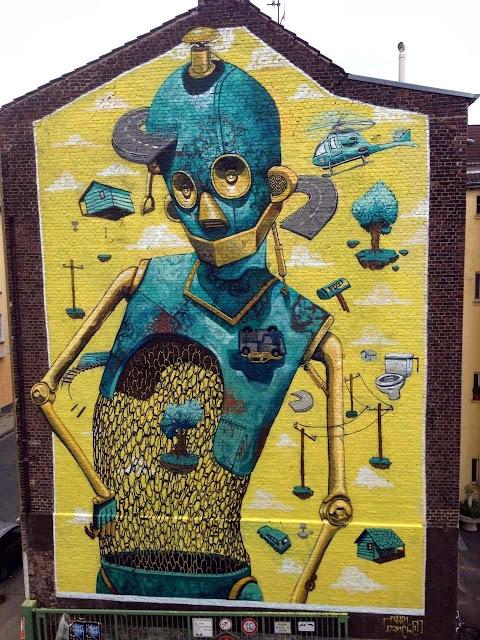 "Italian Street Artist Pixel Pancho Paints ""Rusted Ideas"" Mural In Dusseldorf, Germany. 1"
