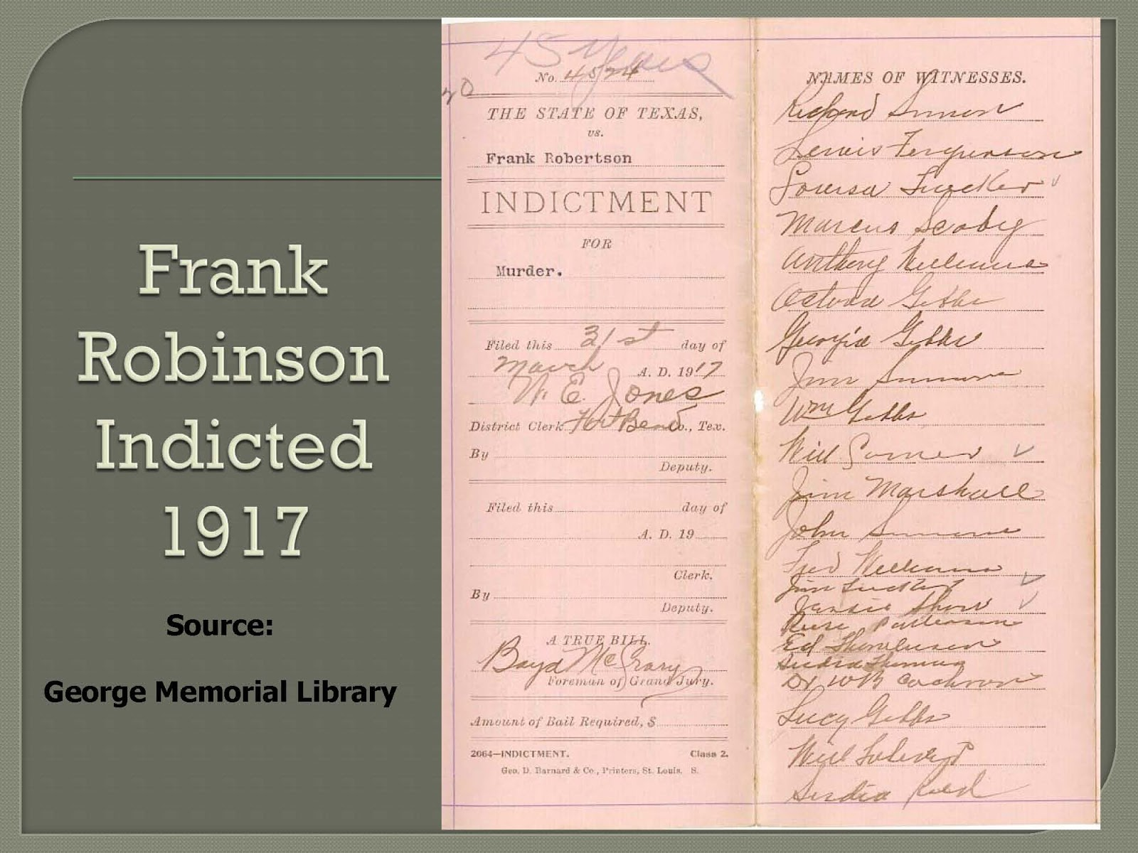 Who Shot R.S. Sloan? • Frank Robinson Indicted 1917