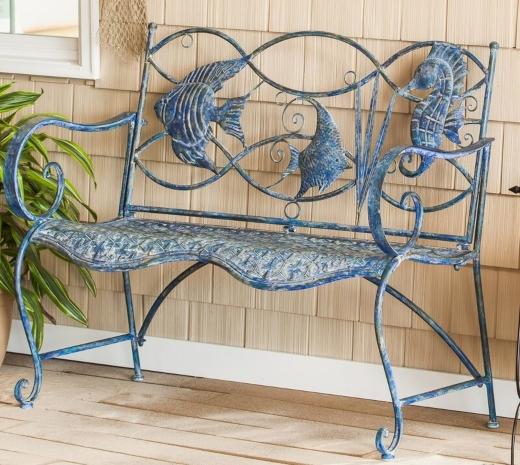 Coastal Metal Garden Bench