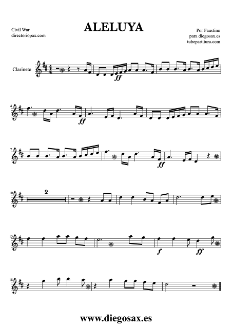 Partitura de Hallelujah (Aleluya) para Clarinete de la Guerra Civil Americana Music Score Clarinet Sheet Music American Civil War Partitura Himno Nacional de Estados Unidos aquí