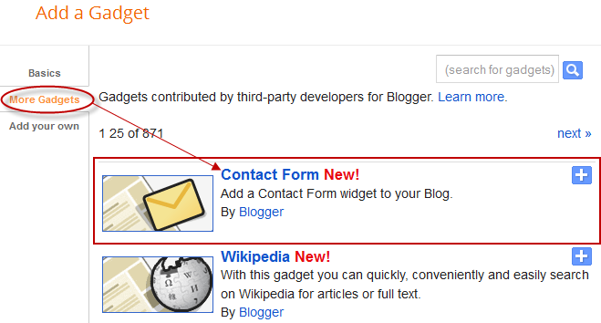 blogger gadgets, blogger widgets, contact form