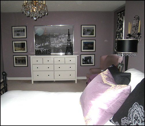 French Chic In Purple And Black Paris Style Bedroom Decorating