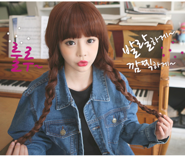 Korean Fashion Beauty Wig - Sweet Spoon Color Red Brown Model 2