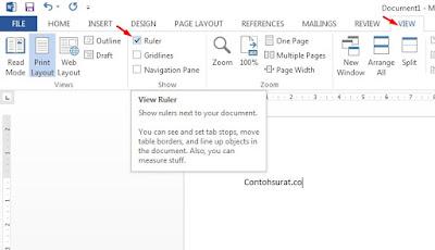Cara Memunculkan Ruler di Word 2010