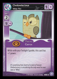 My Little Pony Owlowiscious, Wise Pet The Crystal Games CCG Card