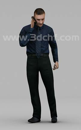 man on phone 3d model free