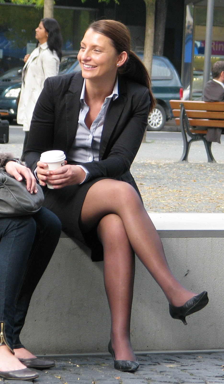 Women in short skirts and stockings