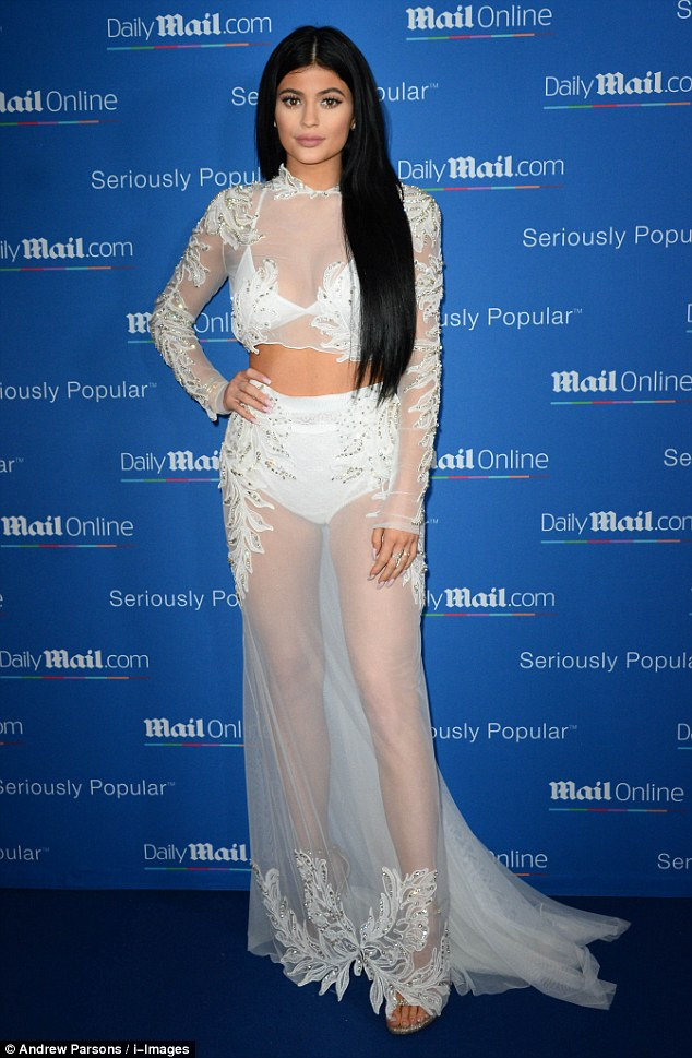 Kylie Jenner in a sheer cropped top and skirt at the MailOnline Yacht Party in Cannes