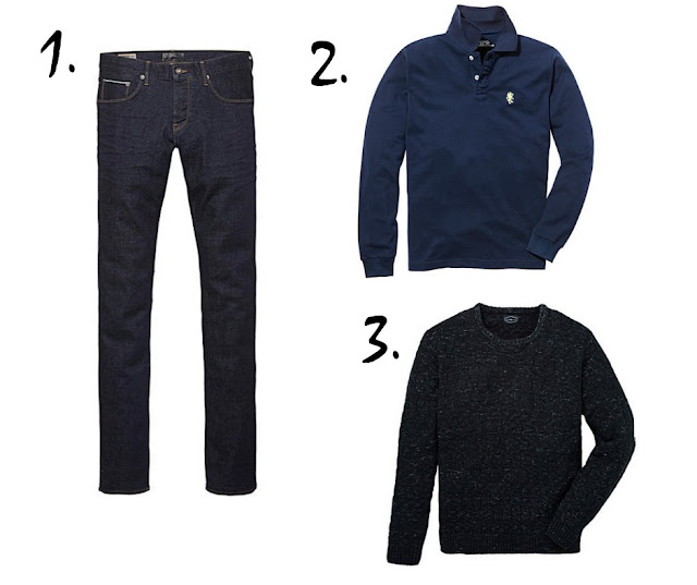 blue jeans, blue polo shirt, and blue jumper, on a white background