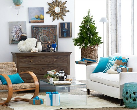 Coastal Christmas Small Living Room Idea