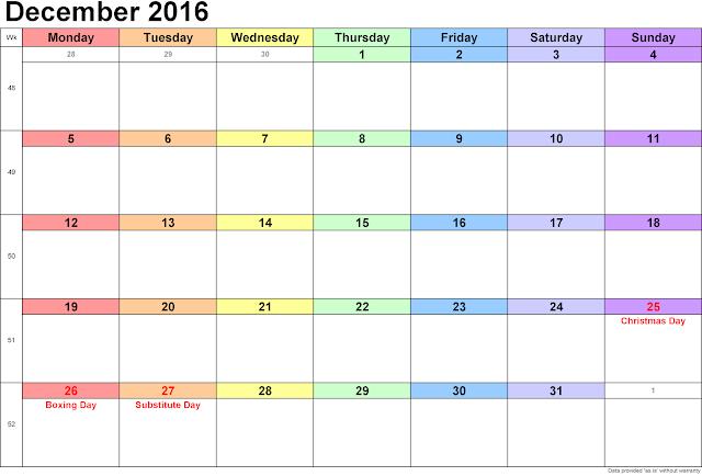 Free]^ Printable Calendar 2016: {Free}** December 2016 Blank Printable ...