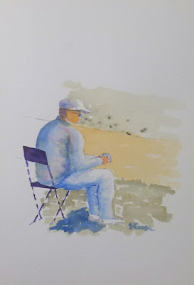 Sitting in the Garden - Watercolor - JKeese