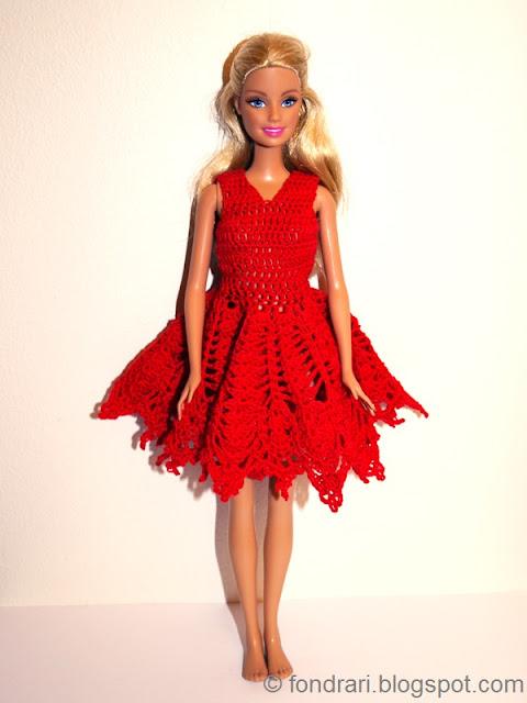 Heklaður Barbie jólakjóll