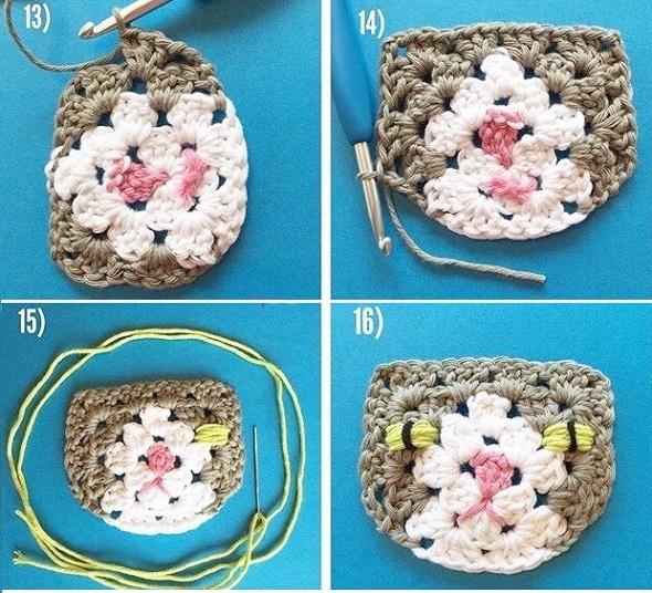 gatos crochet grannys, motivos crochet, tutorial cara gato