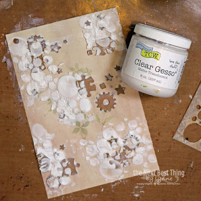 Step Three apply Clear Gesso over entire art journal page