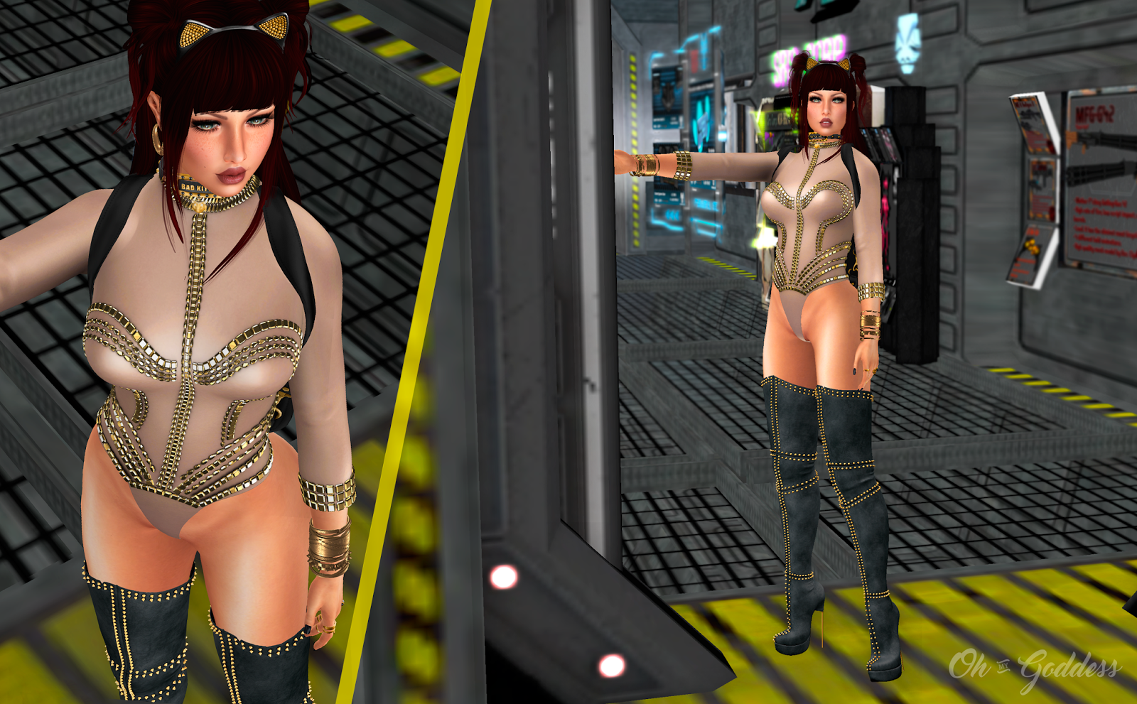 OhMyGoddess Second Life Fashion Blog: Bad, Bad Kitty outfit