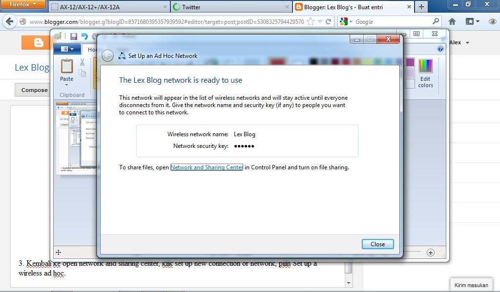 Cara Membuat Koneksi Ad Hoc Pada Windows 7 Untuk Sharing