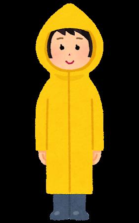 かっぱを着た女性のイラスト(全身)