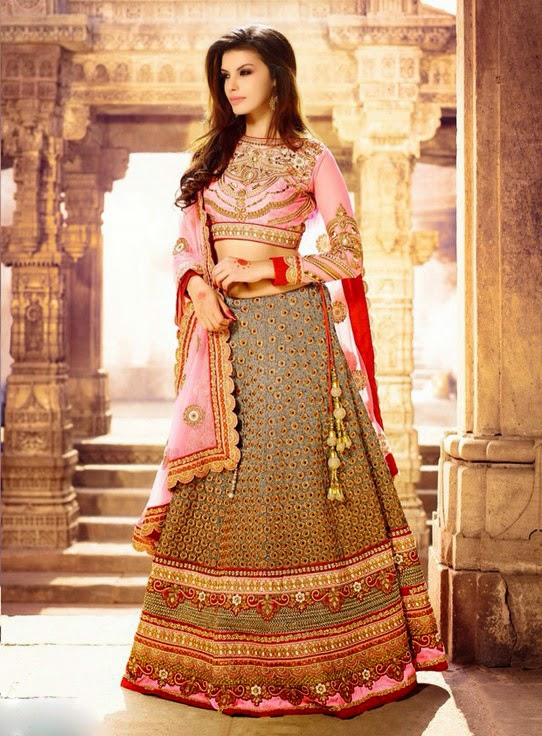 Cream And Pink Art Silk #Designer #Lehenga With Zari, Resham And Stone Work