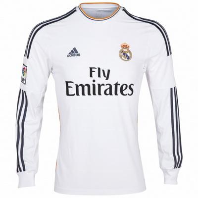 Aquí está el nuevo Real Madrid de Adidas de manga larga camisa casera. La  camisa es de color blanco en el cuerpo y cuenta con algún detalle naranja  en la ... 7611e0d509630