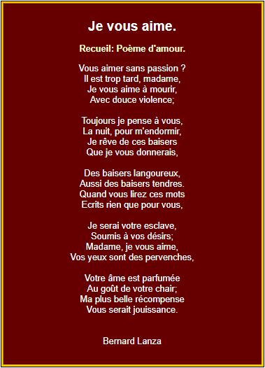 Recueil : Poème d'amour je vous aime