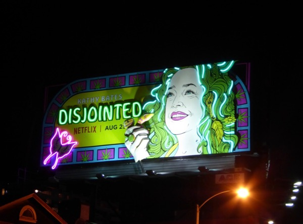 Disjointed neon moving hand billboard Sunset Strip