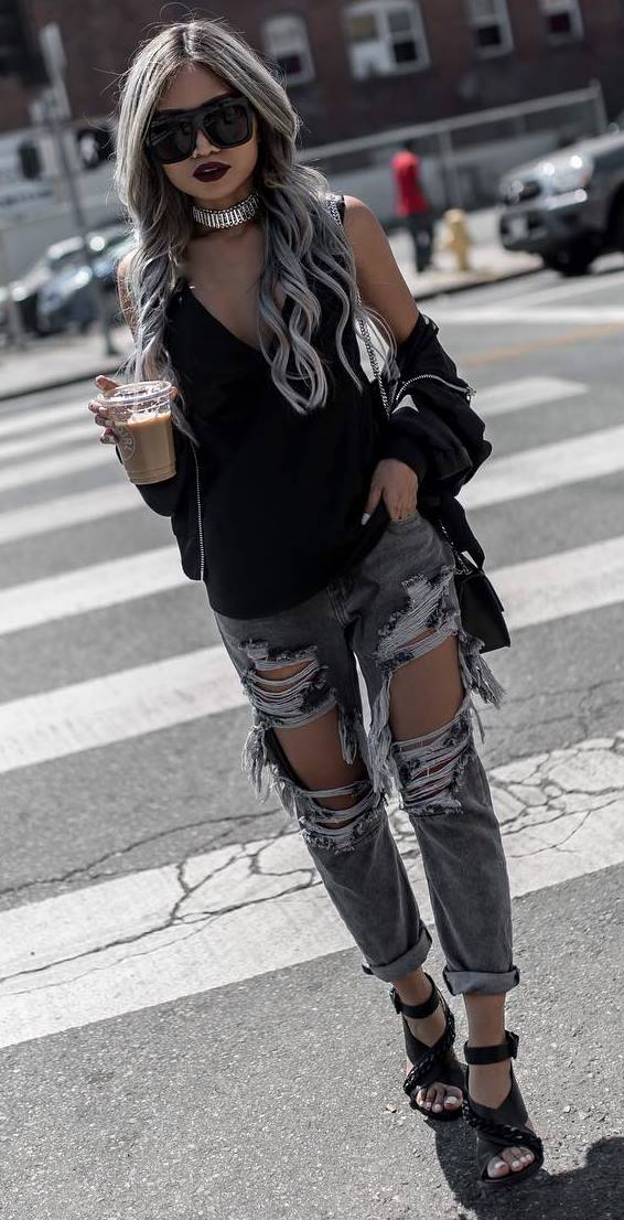 cool street style: jacket + top + distressed jeans + heels + bag