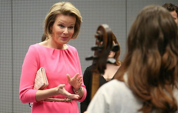 Queen Mathilde of Belgium visits the Higher Institute of Music and Pedagogy in Namur. Wedding dress, fashion weeks, jewelery
