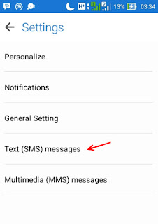 text sms messages setting