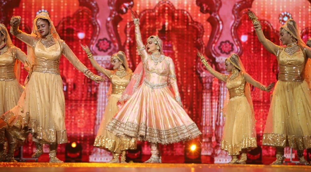 Rekha during stage performance at NEXA IIFA Awards