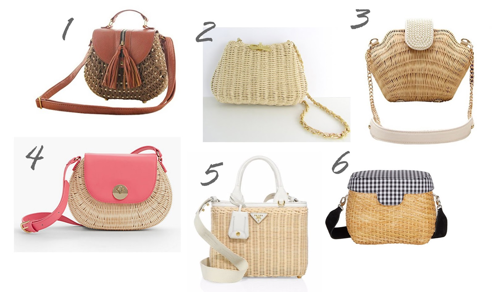 Wicker crossbody handbags, wicker shoulder bags, trendy wicker purses, crossbody beach bags and gingham basket handbag