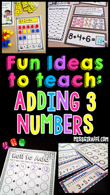 Adding 3 numbers first grade activities and ideas that make adding problems with 3 addends so easy! I seriously love these addition strategies and games!