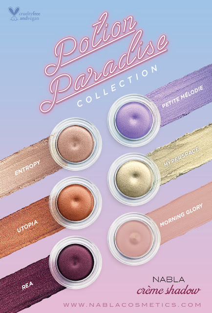 Potion Paradise Morning Glory, Rea, Utopia, Hyperspace, Petite Melodie, Creme Shadow by Nabla Cosmetics