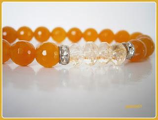 Bransoletka pomarańczowa_kwarc barwiony drobno fasetowany 8mm, kryształki 8mm, przekładki