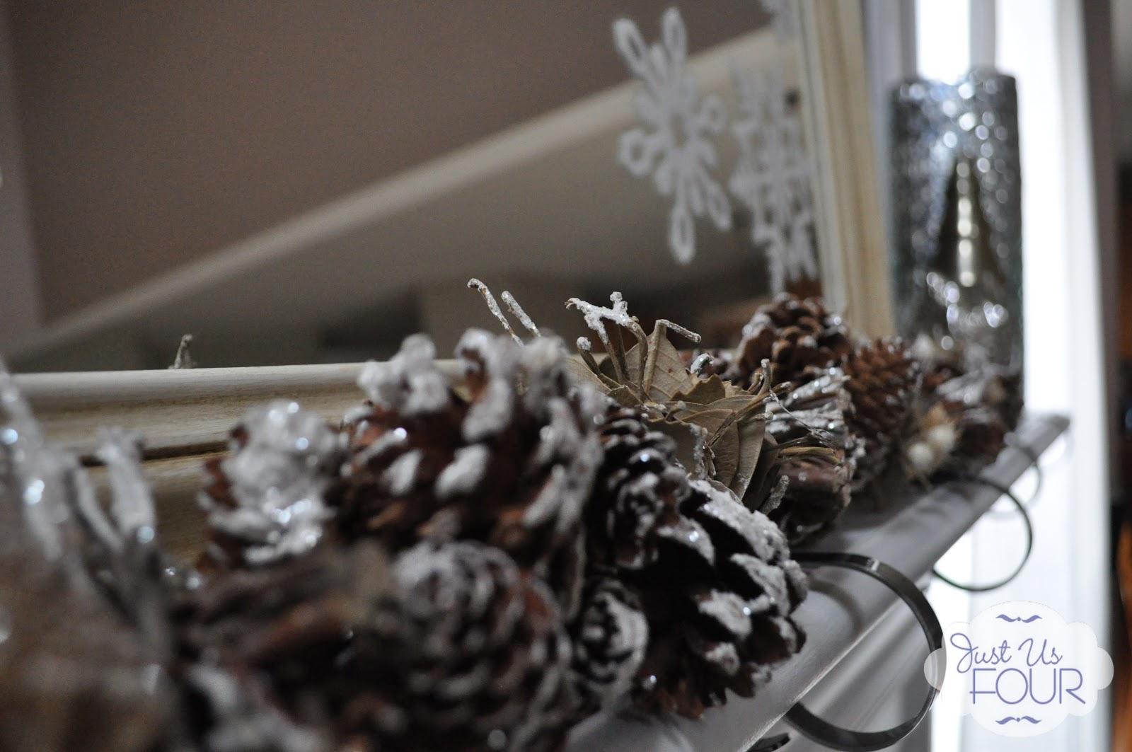 Snowflake and Mercury Glass Christmas Mantel - My Suburban