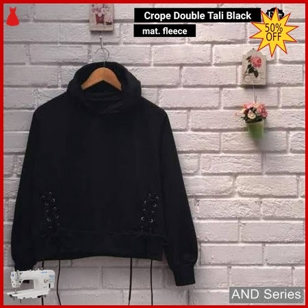 AND397 Sweater Wanita Crop Double Tali Hitam BMGShop