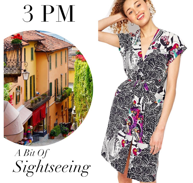Photo of knee length dress in black white leaf print and colorful animal faces