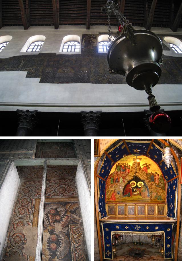 Mosaicos y gruta de la Iglesia de la Natividad, en Belén