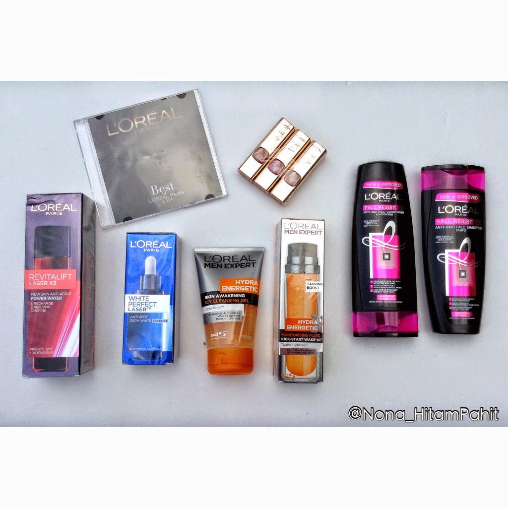 Revitalift L.A.S.E.R. X3 New Skin Anti-Aging Power water, White Perfect L.A.S.E.RTM Anti-Spot Derm white essence, Fall Resist 3X, 2 products of Color Riche Collection Star Nude, and Men Expert Hydra Energetic Icy Cleansing