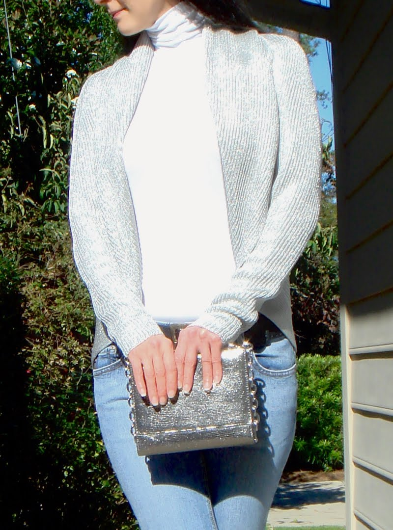 Casual Metallics Outfit - up close of top  - from neck 3/4 down to show clutch in front of belt.