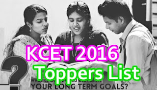 Karnataka CET Toppers 2016, KCET 2016 Toppers list,KCET Toppers Names wise, Karnataka CET 2016 Toppers,