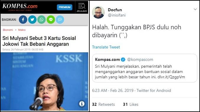 Sri Sebut 'Kartu Sakti' Baru Jokowi Tak Bebani Anggaran, Dokter: Noh Bayarin Tunggakan BPJS