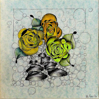 Helen's Jouney A-Z with Letter C for Crumpled Roses with additional tangle patterns Pea-Nuckle and Tipple