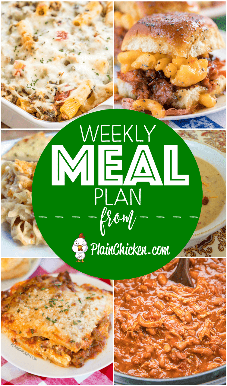 What's For Dinner? Weekly Meal Plan - A quick and easy recipe for everyday of the week. Main dishes, side dishes and desserts! Something for everyone on this meal plan!