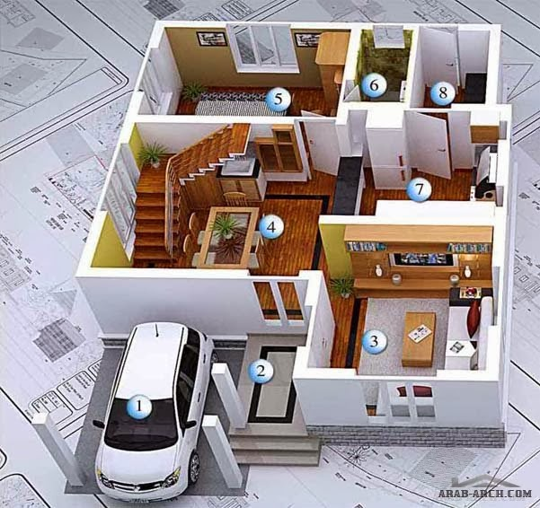 3D Modern House Plans Projects Collection