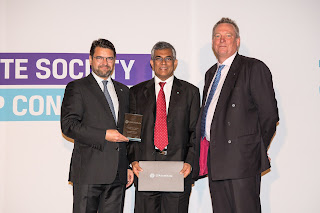 Ravi Abeysuriya, CFA, receiving the 2017 Lifetime Achievement Volunteer of the Year Award from Paul Smith, CFA, President and Chief Executive Officer CFA Institute and Frédéric Lebel, CFA, Chair, Board of Governors, CFA Institute.