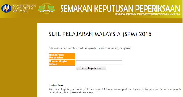 Semakan Keputusan Spm 2015 Online Dan Sms Ciklaili