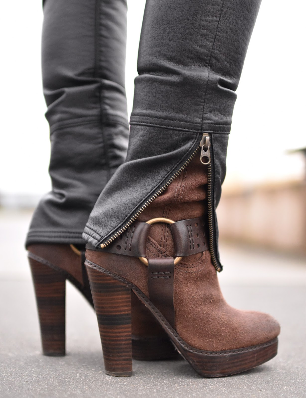 Monika Faulkner outfit inspiration - vegan leather jeans, Frye platform harness boots