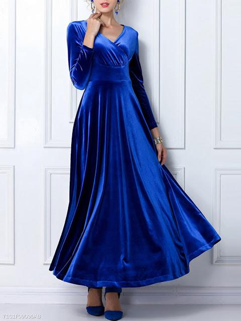 Vintage V-Neck Empire Velvet Plain Maxi Dress