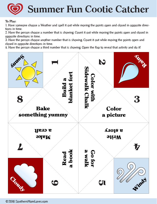 image relating to Printable Cootie Catcher named Southern Mother Enjoys: Im Bored! Summertime Exciting Cootie Catcher